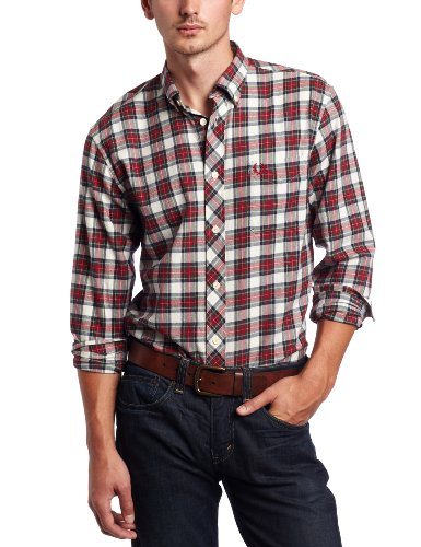 Fred Perry Men's Brushed Stewart Tartan Shirt, Ecru, Medium