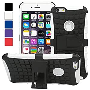 Evecase iPhone 6 Plus Case, OFFROAD Dual Layer Grip Case with Kick-Stand for Apple iPhone 6 Plus 5.5'' Screen 2014 Smartphone - White