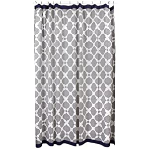 Jonathan Adler Hollywood Shower Curtain, Grey/Natural