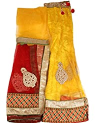 Exotic India Freesia And Red Lehenga Choli Fabric With Embroidered Patc - Yellow