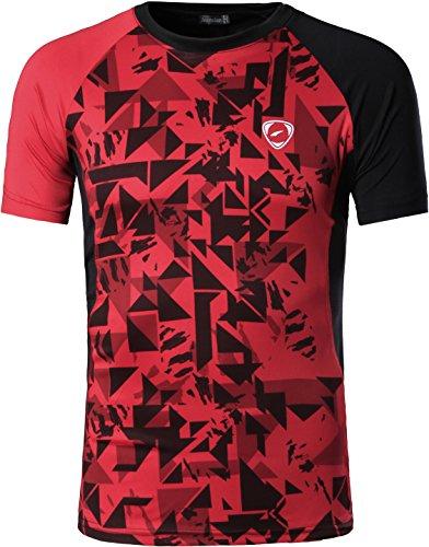 Jeansian Uomo Asciugatura Rapida Sportivo Casuale Slim Sports Fashion T-Shirts Maglia Vest LSL193 Red XL