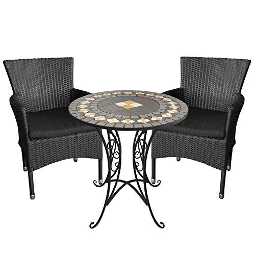 Bistrogarnitur-Sitzgruppe-Terrassenmbel-Balkonmbel-Campingmbel-Set-Sitzgarnitur-Mosaiktisch-70cm-Eisengestell-mit-Mosaikplatte-aus-Keramik-2x-Rattan-Gartensessel-inkl-Kissen-Schwarz