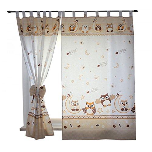 2er set gardinen kinderzimmer vorh nge mit schlaufen und schleifen 155x95 cm dekoschal. Black Bedroom Furniture Sets. Home Design Ideas