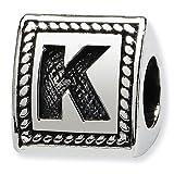 Jewelry Mountain Sterling Silver Letter K Triangle Block Charm Bead Fits Pandora Chamilia Biagi Bracelet