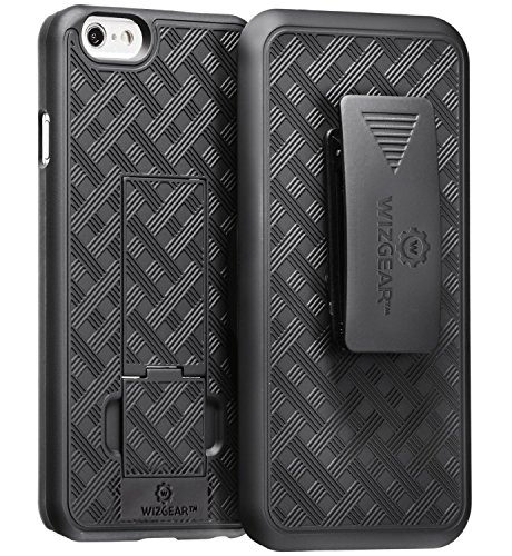 iPhone 6 Holster, WizGear Shell Holster Combo Case for Apple iPhone 6 4.7 Inch Screen With Kick-Stand and Belt Clip - Black (Iphone 6 Belt Holster compare prices)