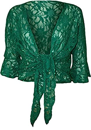 Womens Plus Size Floral Lace Sequin 3/4 Bell Sleeve Tie Up