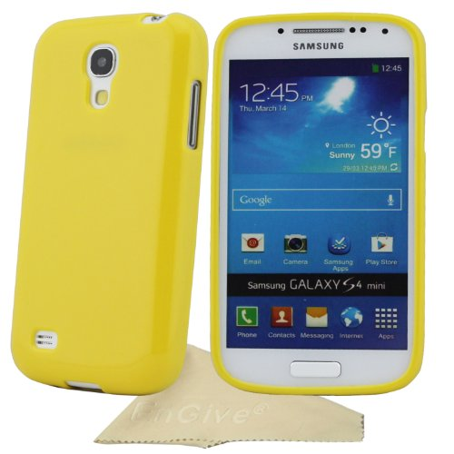 EnGive Slim Soft TPU Sweet Jelly Color Cover Case For Samsung Galaxy S4 Mini I9190 I9192 I9195With Cleaning Cloth (Yellow)