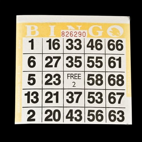1 on Yellow Bingo Paper Cards - 500 cards per
