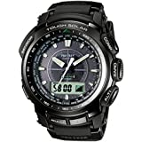 Casio Pro-Trek Men's Radio Controlled Solar Digital Watch PRW-5100-1ER with Resin Combi Strap