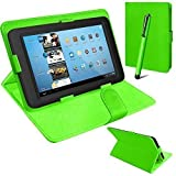 Connect Zone® Universal PU Leather Stand Case Cover For Various Android Tablet PC + Tall Touch Screen Stylus (Green)