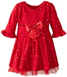 Youngland Girls 2-6X Holofoil Sweater Knit Dress, Red, 3T