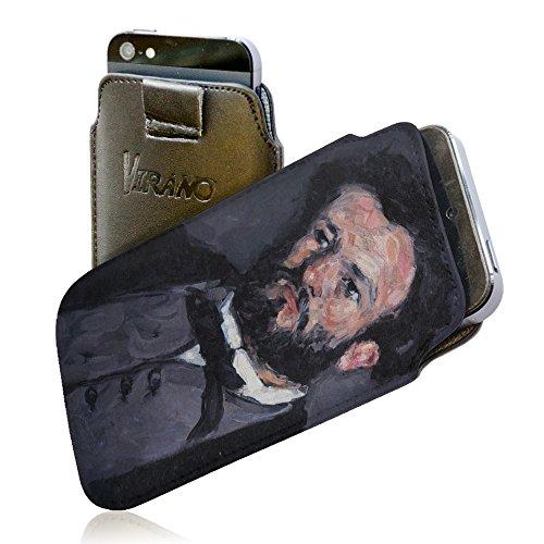 Cezanne - Portrait Of Antony Valabregue, Pull Tab Portafoglio Custodia Protettiva in PU Pelle Wallet Case Cover Shell Borsa Copertura Nero con Design Colorato per Huawei P8.