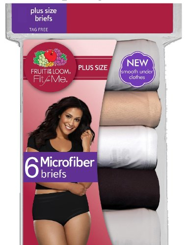 0f4690c7bab Fruit of the Loom 6-Pack Women s Fit for Me Plus Size Microfiber Briefs  5DM204P
