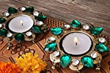 Royal Flower Shaped Tea Light Candle Holder with Faux Crystals Diwali Diya Oil Lamp (3.3 X 0.5 inches)