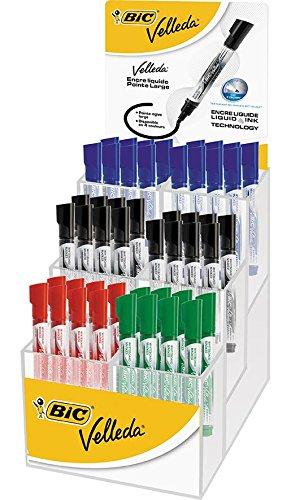 VELLEDA Présentoir 48 Feutres tableau blanc effaçable LIQUID INK Tank Pte Ogive Large N/B/R/V