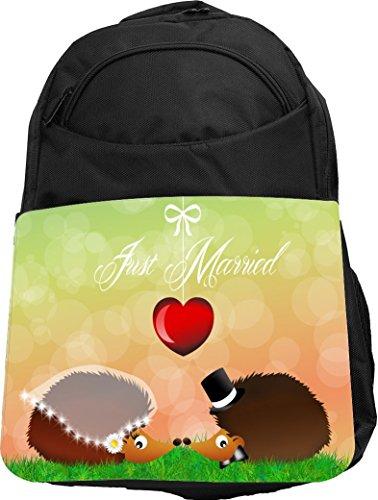 Rikki Knight® UKBK Hedgehogs in Love Wedding Illustration Tech BackPack - Padded for Laptops & Tablets Ideal for School or College Bag (Adult Hedgehog)