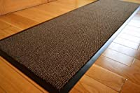 Medium Extra Large Long Narrow Brown / Black Heavy Duty Strong Non Slip Heavy Duty Rug Barrier Mat Door Office Kitchen Utility Carpet by RUGS 4 HOME