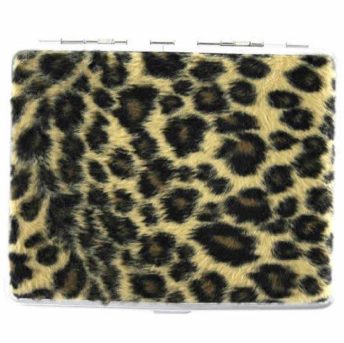 Leopard Print Ladies Cigarette Hard Case Metal Holder
