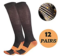 Marvelous Copper Anti-Fatigation 12-Pack Compression Socks (L/XL)
