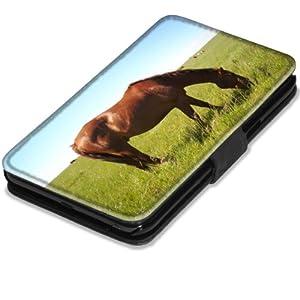 Chevaux 10010, Cheval dans le Champ, Etui Personnalisé Coque Housse Cover Coquille en Cuir Noir avec l'Image Coloré pour Samsung Galaxy Note 2 N7100.