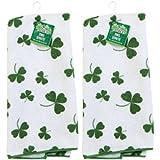 Set of 2 Kelly Green St. Patrick's Day Shamrock Microfiber Kitchen/Bar Towels