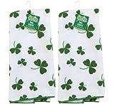 Set of 2 Kelly Green St. Patrick s Day Shamrock Microfiber Kitchen Bar Towels