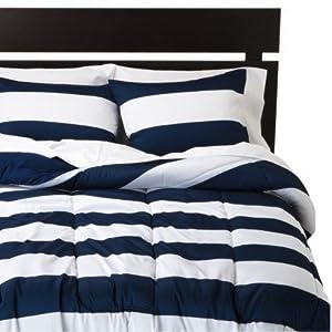 Amazon Com Rugby Stripe White Dark Blue Navy Full