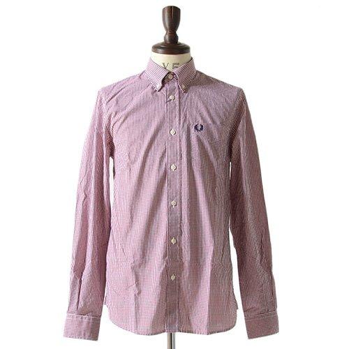 Fred Perry フレッドペリー ギンガムチェックシャツ M4264 長袖シャツ 長袖 シャツ チェック柄 チェック ギンガム ボタンダウン ドレスシャツ 総柄 メンズ 正規取扱品 (XS, 2.Red (649))