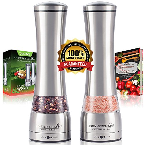 Deluxe Salt and Pepper Grinder Set by Johnny Bellson - Professional Quality Stainless Steel Mills with Adjustable Ceramic Grinder - Decorative Shakers, Ergonomic Design, Huge Capacity-Free Bonus eBook (Salt And Pepper Grinder Joseph compare prices)