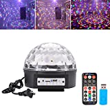 Bluetooth Crystal Stage Light, Mp3 Disco Magic Ball Light with Remote and USB Ports for KTV DJ Bar Club Party