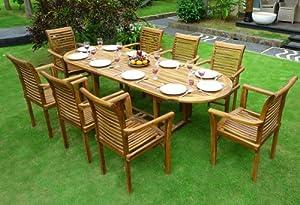 Salon de jardin en teck 8 fauteuils de jardin en teck for Salon de jardin amazon