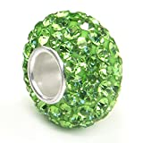 Sterling Silver Green Crystal Ball Bead Charm