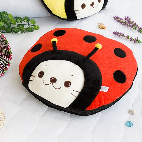 [Sirotan - Ladybug Red] Blanket Pillow Cushion / Travel Pillow Blanket (39.4 by 59.1 inches)