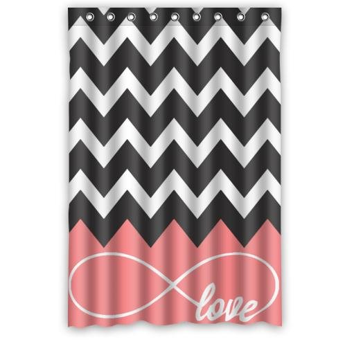 Love Infinity Forever Chevron pink Black White Waterproof Bathroom Fabric Shower Curtain