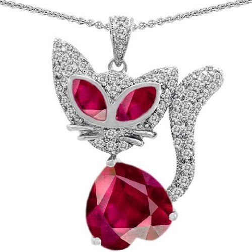 CandyGem 14k Gold Plated 925 Silver Kitty Cat Heart Pendant with Created Ruby