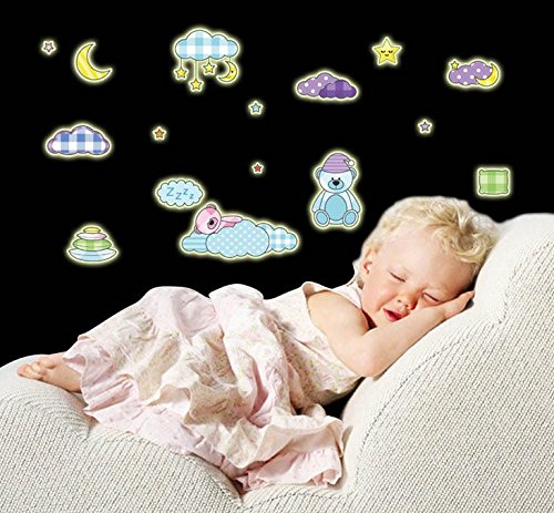 Wall Sticker Decal Fluorescent Luminous Stars Moon Cloud Planet and Teddy bear Glow in the Dark for Kids Room Nursery and Daycare Windows Closet Mural Decor Removable DIY Self adhesive