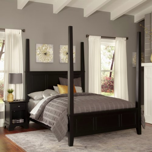 Home Styles Bedford Black King Poster Bed And Night Stand