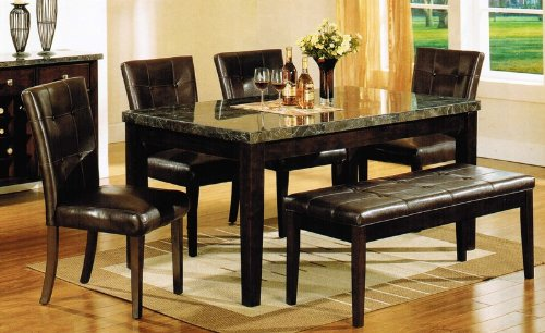 6Pc Dining Table, Parson Chairs And Bench Set In Espresso Finish