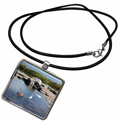 3dRose Beverly Turner Photography - Large White Egret Flying on the Coast - Necklace With Rectangle Pendant (ncl_11892_1)