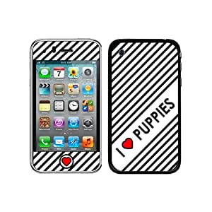 Graphics and More Protective Skin Sticker Case for iPhone 3G 3GS - Non-Retail Packaging - I Love Heart Puppies - Dogs