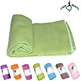 AngelBeauty Hot Yoga Towel With Carry Bag - Microfiber Non Slip Skidless Yoga Mat Towels For Yoga, Exercise, Fitness...