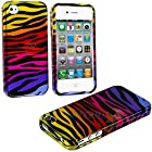 myLife Rainbow Zebra Stripes Series (2 Piece Snap On) Hardshell Plates Case for the iPhone 4/4S (4G) 4th Generation Touch Phone (Clip Fitted Front and Back Solid Cover Case + Rubberized Tough Armor Skin)