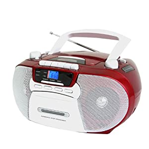 Supersonic SC-727 Portable CD Player with Cassette/Recorder & AM/FM Radio- Red