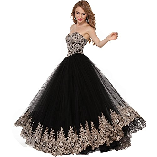 Lemai Black Tulle Gold Lace Crystals Corset Prom Evening Dresses Long Formal US 16