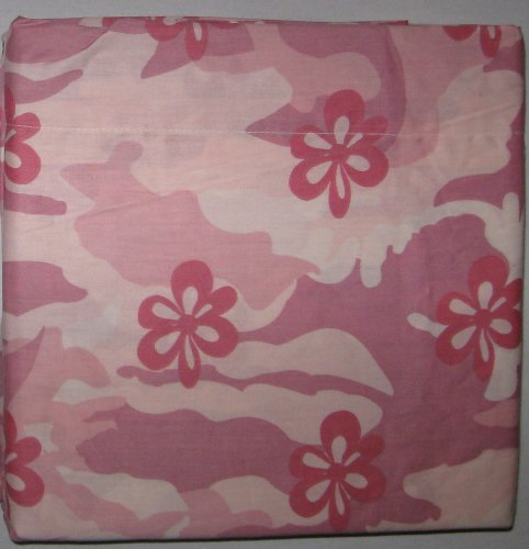 Twin Size Pink Camouflage Sheet Set with Flowers