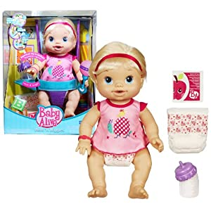 Hasbro Year 2010 Baby Alive Wets 'N Wiggles Interactive 13 Inch Tall Baby Doll Playset with Baby Girl Doll, 2 Diapers, Dress,Packet of Doll Juice Mix and Bottle (Caucasian Version)