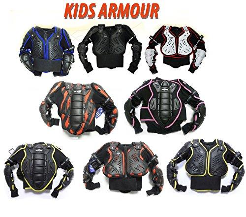 Bambini motocross giacca: XTRM JUNIOR Enduro Corpo Pettorina Moto Corazza, Quad scooter armatura Protettiva Gilet, TUTTI I COLORI (10 Anni, Nero Giallo)