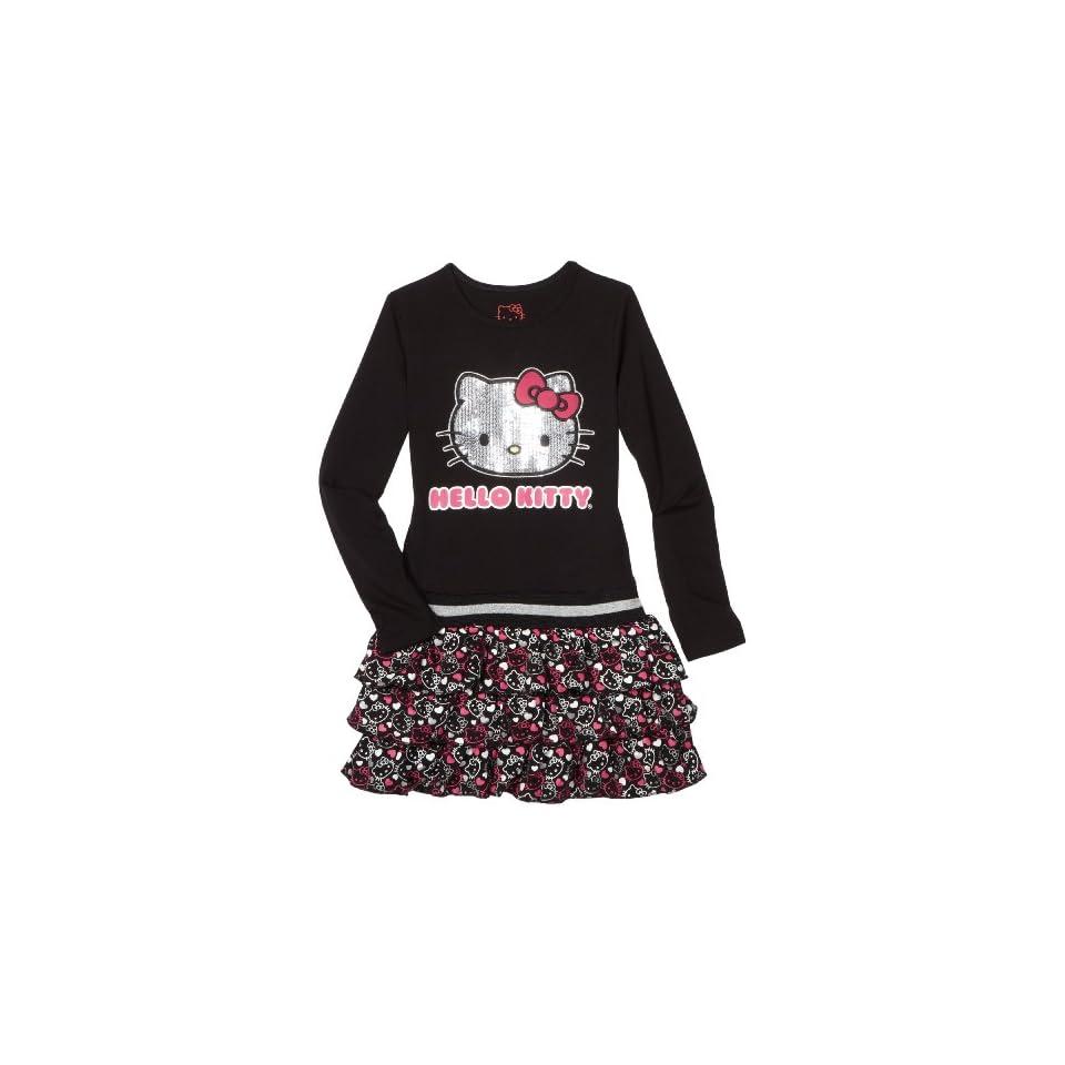 Hello Kitty Big Girls Sequin Applique On Tier Dress, Anthracite, 10
