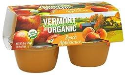 Vermont Village Organic Peach Applesauce, 4 Ounce -- 12 per case.