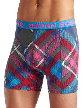 Bjorn Borg Men's Long Tight Fit Boxer Brief Cyber Checks, Dark Slate, Small
